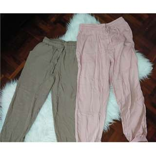 [BN] Laidback Jogger Casual Track Jogging Exercise Pants Cuffed Trousers Pants Millennial Dusty Rose Baby Light Pink and Camel Nude Tan Beige Brown