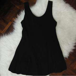 [BN] A Line Fit and Flare Jersey Stretchable Strappy Strapless Sleeveless Knee Length Black Little Dress BLD Basic Plain