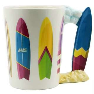 Surfboard Handle Coffee Mug Colorful Surf Boards Cheeky Gift