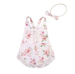 Baby Girl Floral Playsuit w matching Headband