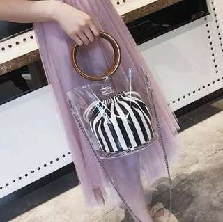 PVC bucket bag with striped pouch
