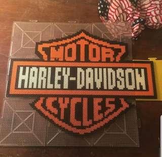 Hama beads design big portrait of Harley Davidson motor cycle