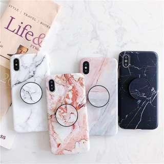 4 Designs Marble Pop Socket IPhone 6 6S 7 8 Plus + X Cover