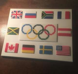 Hama beads design big portrait of Olympicn logo flags