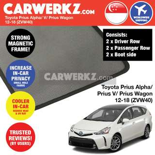 [PRE-ORDER] Toyota Prius Alpha Prius V Prius + Grand Prius Wagon 2012-2018 (ZVW40) Customised Car Window Magnetic Sunshades 6 Pieces