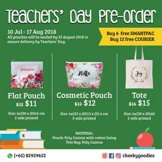 Teachers' Day Gift handmade customized canvas pouch / cosmetic pouch / canvas tote bag