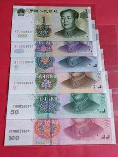 2005年中國人民銀行.第五套人民幣小全張全同號:00026637
