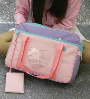🚚 (可PC和蝦皮)(內有客人實拍照)全新預購新款學院風透明愛心單肩包制服包手提包lolita包痛包