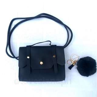 Hailey sling bag for kids (black) + free fur ball key