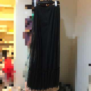 🚚 日貨 黑色雙層長裙 長洋 長紗裙 荷葉邊波浪綑邊設計