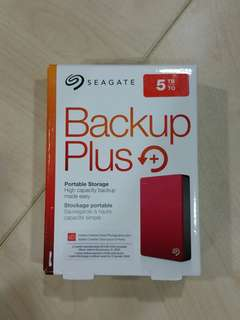 "Seagate Backup Plus Portable hard drive 2.5"" 5TB, 5.0 Terabyte Brand New in Box, two years local warranty till 2020, color: Red or Black"