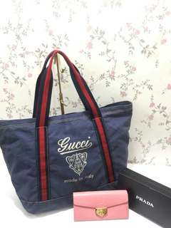 AUTHENTIC GUCCI SHOPPING TOTE PLUS FREE PRADA WALLET