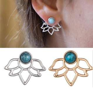 Lotus Earrings with Blue Accent