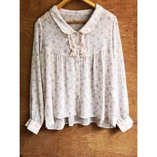 日本古著🇯🇵柔美清新碎花造型襯衫