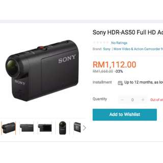 New Sony Action Cam HDRAS50 with Stabiliser Function