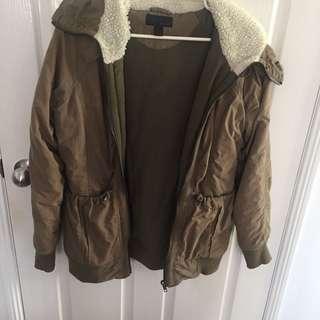 'vintage' green sherpa parka jacket
