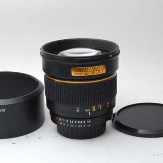 Samyang 85mm F1.4 Aspherical Portrait Lens for Nikon F (manual focus)