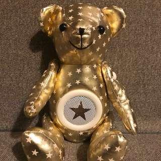 金色皮製熊仔bear bear型擴音喇叭