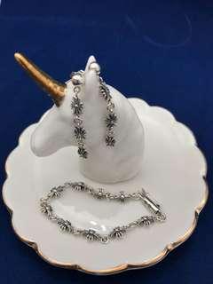 復古純銀手鏈和耳環