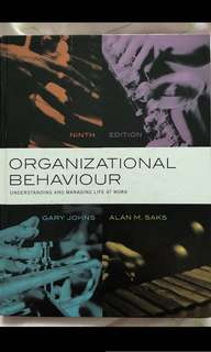 Organizational Behavior MPW textbook 9th edition