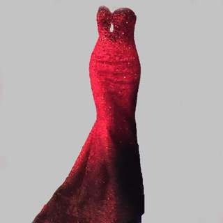 Red Full Sequins Designer's Gown For Rent