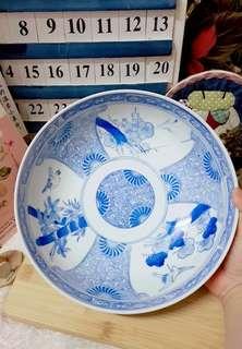 Japan handpaint vintage plum flower blue & white porcelain big bowl
