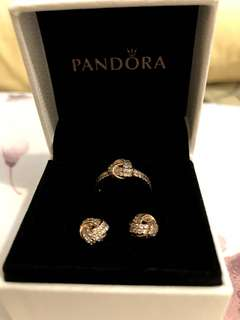 PANDORA Sparkling Love Knot Earrings & Ring (Rose Gold)