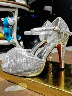 Studded Silver Wedding Bridal Shoes