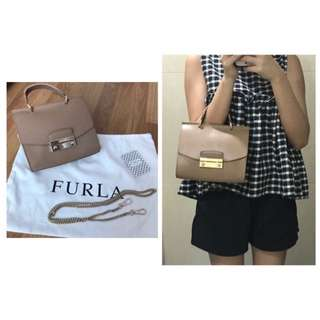 New⭐️FURLA Julia Top Handle Cross body Bag Cappuccino Beige Brown