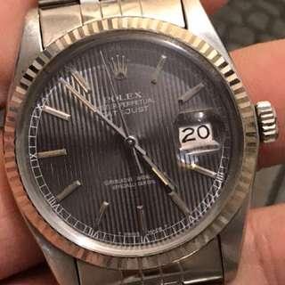 Rolex 16014 DATEJUST 罕有灰色銀幕面 8字頭 浄表 膠鏡連五珠帶 36MM 自動日曆3035機杺行走正常