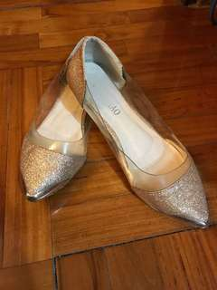 閃粉超閃透明平底鞋  bling bling glitter flats