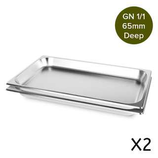 2 x SOGA Gastronorm GN Pan Full Size 1/1 GN Pan 65mm Deep Stainless Steel Tray