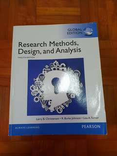 Research Methods, Design and Analysis (Twelfth edition)