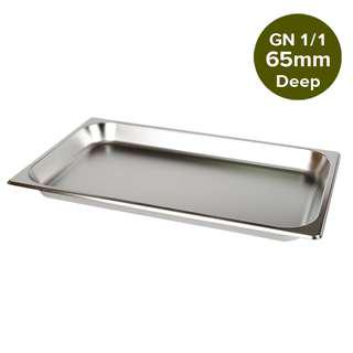 1 x SOGA Gastronorm GN Pan Full Size 1/1 GN Pan 65mm Deep Stainless Steel Tray