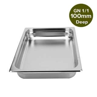 1 x SOGA Gastronorm GN Pan Full Size 1/1 GN Pan 100mm Deep Stainless Steel Tray
