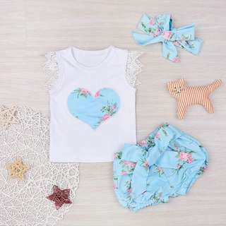 3-piece Heart Tank Top Floral Shorts and Headband Set for Baby Girl