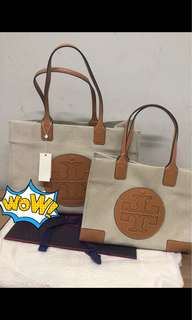 Tory Burch canvas tote 小34x26.5cm 大44x33cm