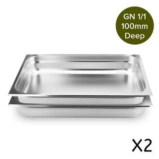 2 x SOGA Gastronorm GN Pan Full Size 1/1 GN Pan 100mm Deep Stainless Steel Tray