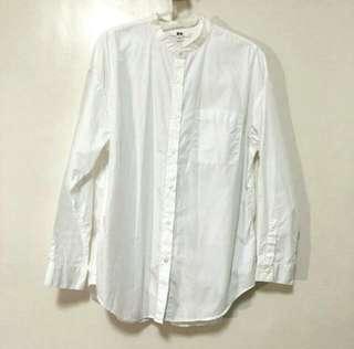 Uniqlo 中山領寬鬆白襯衫