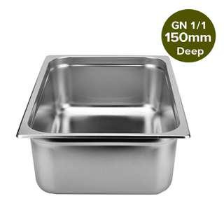1 x SOGA Gastronorm GN Pan Full Size 1/1 GN Pan 150mm Deep Stainless Steel Tray