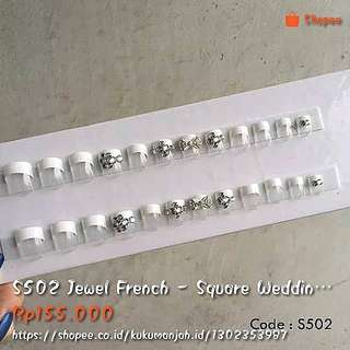 S502 Jewel Frech - Square Wedding Fake Nails ( Kuku Tangan Palsu Motif )