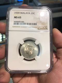 1939 MALAYA 20cents NGC MS 65