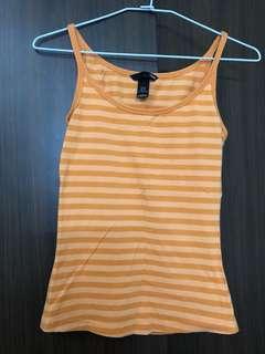 🚚 H&M 棉質橘色條紋細肩帶背心 國外購入 近全新