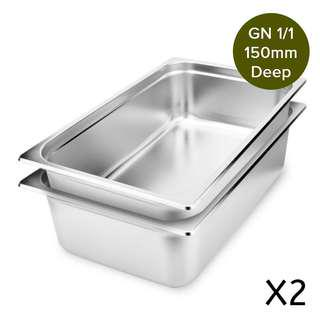 2 x SOGA Gastronorm GN Pan Full Size 1/1 GN Pan 150mm Deep Stainless Steel Tray