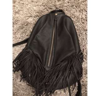 Faux Leather Tassle Backpack