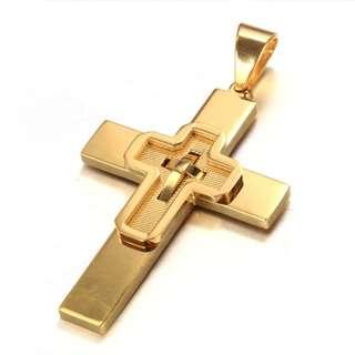 《 QBOX 》FASHION 飾品【CPAQ0039】精緻個性基督教耶穌十字架鈦鋼墬子項鍊