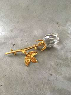 Rose glass brooch