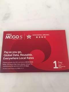 香港航空 有2張一日免費全球無限數據卡