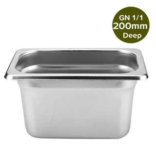 1 x SOGA Gastronorm GN Pan Full Size 1/1 GN Pan 200mm Deep Stainless Steel Tray