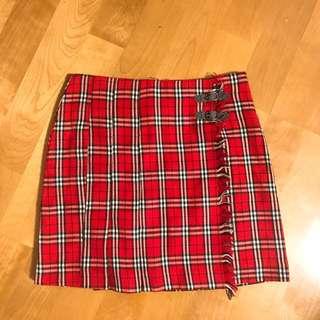 Vintage 紅色經典格紋高腰短裙